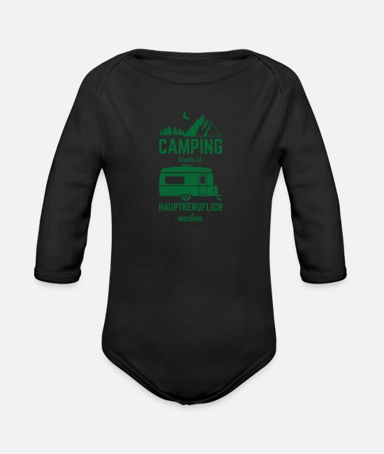 Mountains Baby One Pieces - Camping camper saying nature trip - Organic Long-Sleeved Baby Bodysuit black