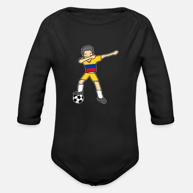 Soccer Player Dabbing Dabbing Soccer Football Player Colombia Dab Tshirt - Organic Long-Sleeved Baby Bodysuit