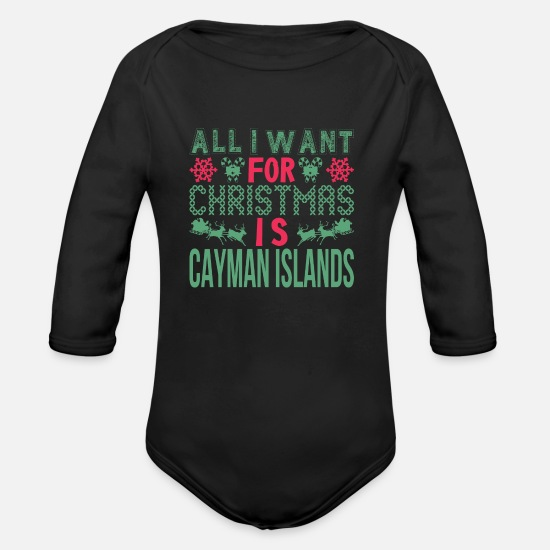 Alligator Baby Clothing - All I Want For Christmas Cayman Islands Holidays - Organic Long-Sleeved Baby Bodysuit black