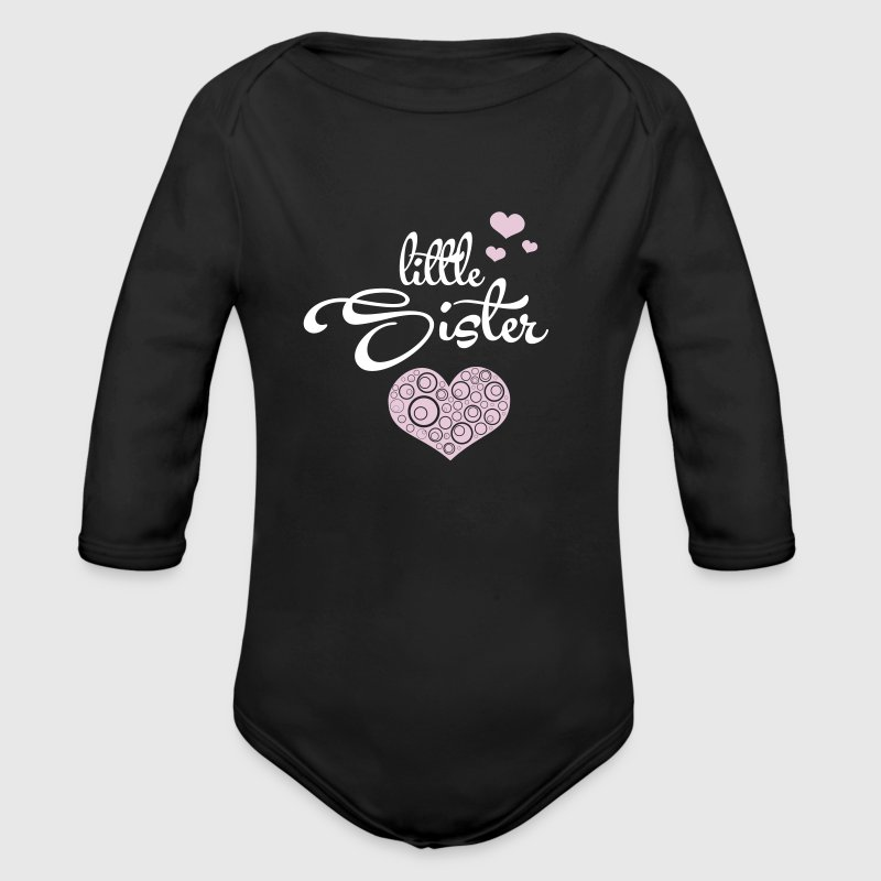 Little Sister with Hearts - Organic Long Sleeve Baby Bodysuit