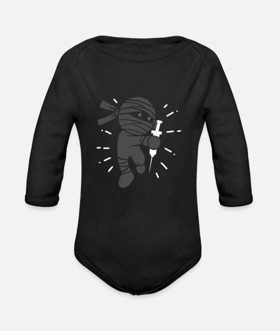 Medicine Baby One Pieces - Ninja Syringe Injection - Organic Long-Sleeved Baby Bodysuit black