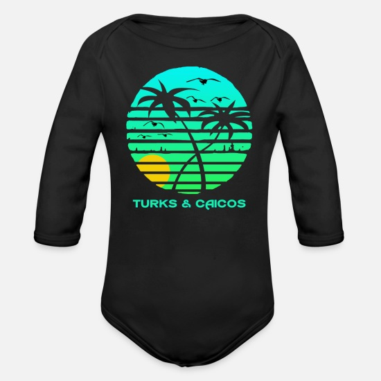 Islands Baby Clothing - Turks and Caicos Sun Circle Gulls Souvenir - Organic Long-Sleeved Baby Bodysuit black
