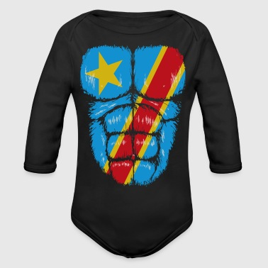Congo flag Hulk muscles - Organic Long Sleeve Baby Bodysuit