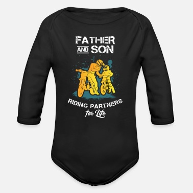 Partner Father And Son Riding Partners For Life - Organic Long-Sleeved Baby Bodysuit