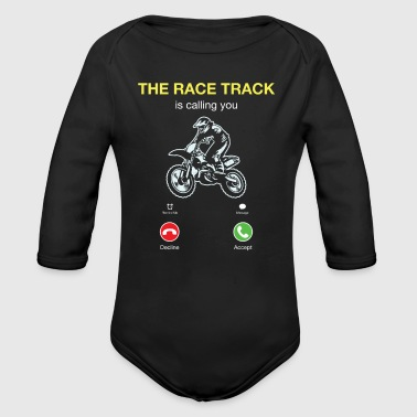 Motocross The Race Track Is Calling - Organic Long Sleeve Baby Bodysuit