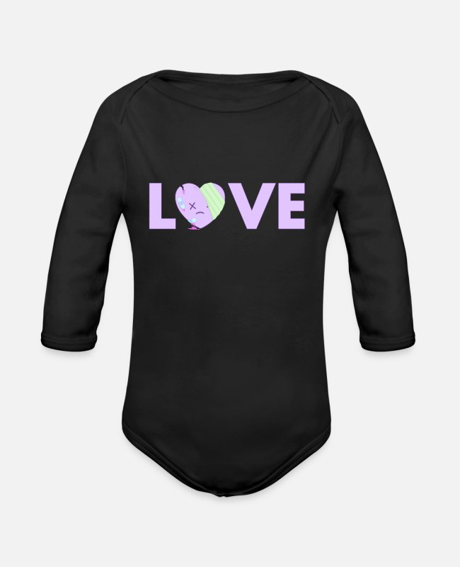 Aesthetic Baby One Pieces - Yami Kawaii Pastel Goth - Organic Long-Sleeved Baby Bodysuit black