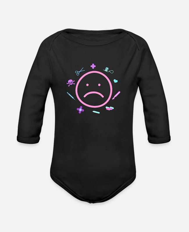 Aesthetic Baby One Pieces - Sad Yami Kawaii Pastel Goth - Organic Long-Sleeved Baby Bodysuit black