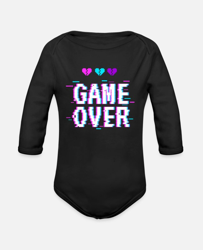 Aesthetic Baby One Pieces - Game Over Yami Kawaii Pastel Goth - Organic Long-Sleeved Baby Bodysuit black