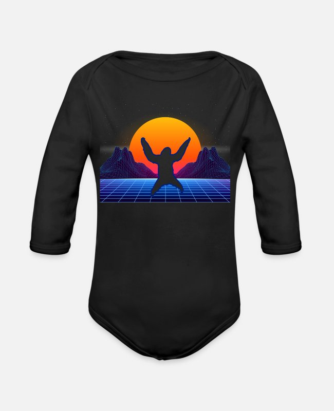 Sloth Fan Baby One Pieces - Funny Sloth Retro Vintage Style - Sloth Lover Gift - Organic Long-Sleeved Baby Bodysuit black