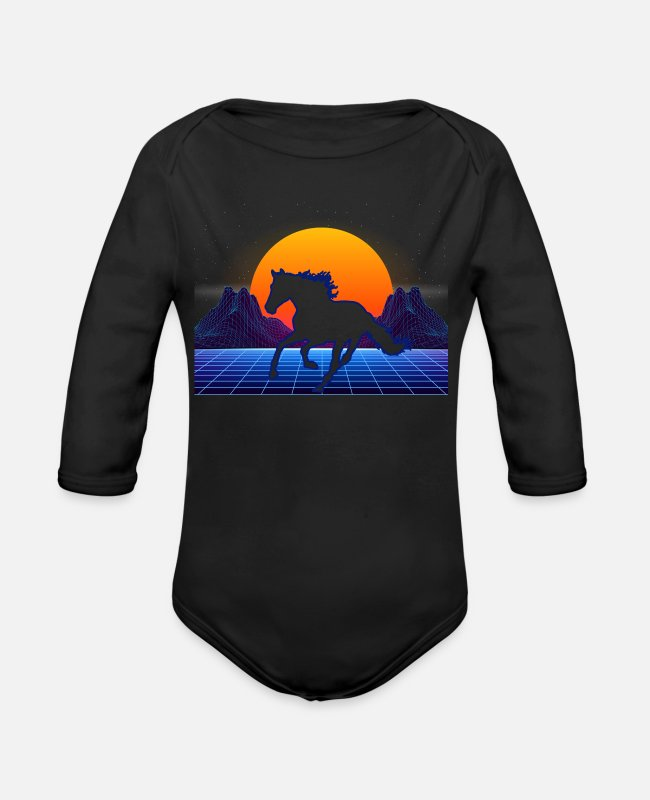 Futuristic Baby One Pieces - Horse Retro Farmer - Horse Riding Gift - Organic Long-Sleeved Baby Bodysuit black