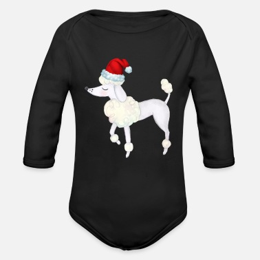Poodle Dog Animal Christmas Day Winter Season - Organic Long-Sleeved Baby Bodysuit