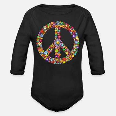Peace Sign Peace sign peace - Organic Long-Sleeved Baby Bodysuit