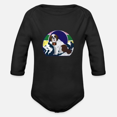 Team Saint Bernard Saint Bernard Rescue Dog K9 Unit SAR - Organic Long-Sleeved Baby Bodysuit