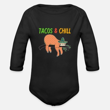 Sloth Tacos and Chill - Organic Long-Sleeved Baby Bodysuit