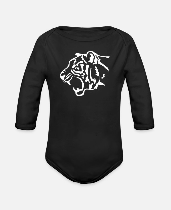 Boss Baby One Pieces - Tiger - Organic Long-Sleeved Baby Bodysuit black