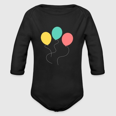 A balloon, two balloons, three balloons! - Organic Long Sleeve Baby Bodysuit