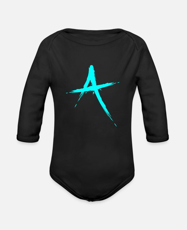 Alphabet Baby One Pieces - Letter A symbol initial letter - Organic Long-Sleeved Baby Bodysuit black