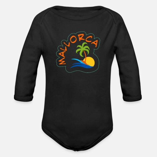 Spain Baby Clothing - Mallorca island holidays - Organic Long-Sleeved Baby Bodysuit black