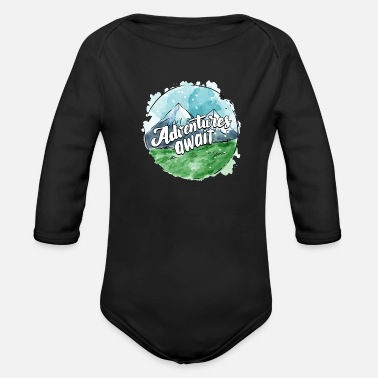 Adventure Awaits Adventures Await - Organic Long-Sleeved Baby Bodysuit