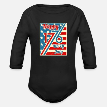 Hammer Happy 4th Of July 1776 Independence Day - Organic Long-Sleeved Baby Bodysuit