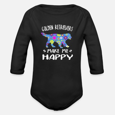 Golden Retrievers Make Me Happy Cute Floral Gift - Organic Long-Sleeved Baby Bodysuit