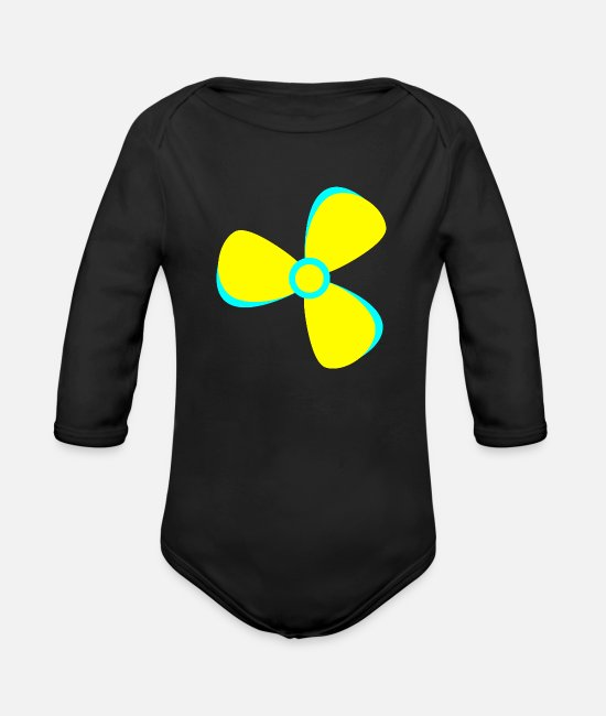 Sail Boat Baby One Pieces - Marine Propeller Boat yellow - Organic Long-Sleeved Baby Bodysuit black