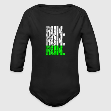 Running run run run neongreen - Organic Long Sleeve Baby Bodysuit