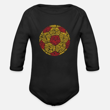 Serce Soccer Ball Typography - Organic Long Sleeve Baby Bodysuit