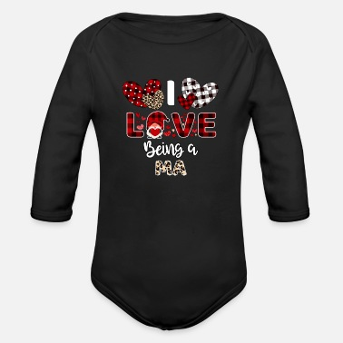 Mimi I Love Being A MA Flannel Valentine s Day - Organic Long-Sleeved Baby Bodysuit