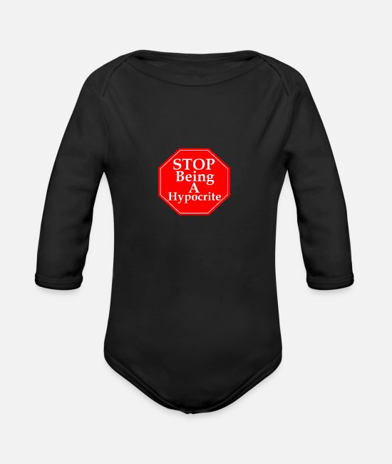 Halt Baby One Pieces - Stop Hypocrisy - Organic Long-Sleeved Baby Bodysuit black