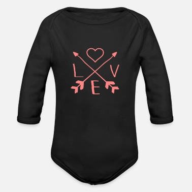 Love Is love-valentine's-day - Organic Long-Sleeved Baby Bodysuit