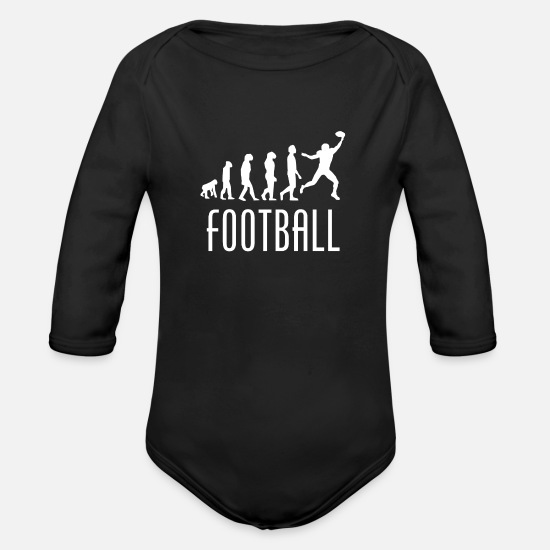 Receiver Baby Clothing - Football Evolution Wide Receiver - Organic Long-Sleeved Baby Bodysuit black