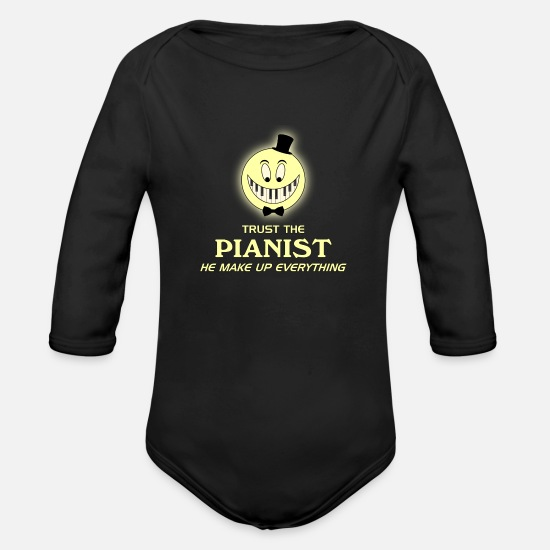 Maestro Baby Clothing - Trust the pianist - Organic Long-Sleeved Baby Bodysuit black