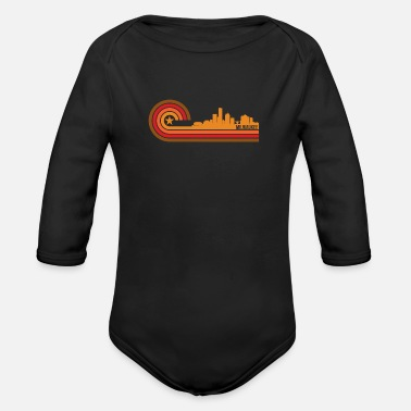 Milwaukee Retro Style Milwaukee Wisconsin Skyline - Organic Long Sleeve Baby Bodysuit