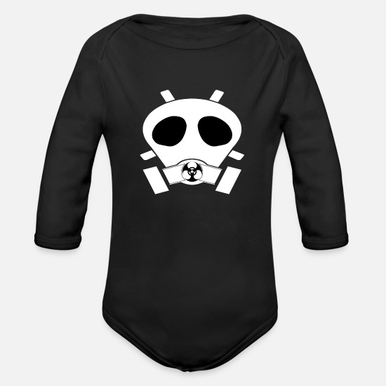 Zombie Baby Clothing - mask - Organic Long-Sleeved Baby Bodysuit black