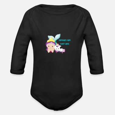 Care Mermaid Hair Don't Care - Organic Long-Sleeved Baby Bodysuit