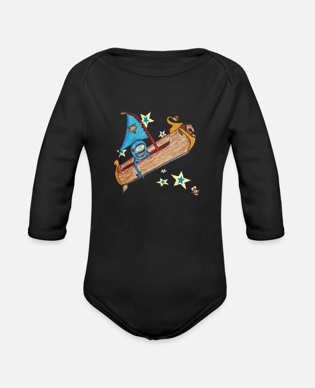 Space Baby One Pieces - The Globetrotter A Journey To Another World Comic - Organic Long-Sleeved Baby Bodysuit black