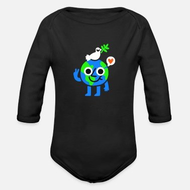 Green Peace Green World Peace Love Bird Awesome Great - Organic Long Sleeve Baby Bodysuit