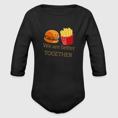 Burger and French Fries - Organic Long Sleeve Baby Bodysuit