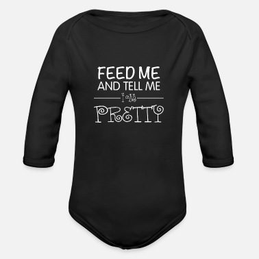 Text Feed Me - White Text - Organic Long-Sleeved Baby Bodysuit
