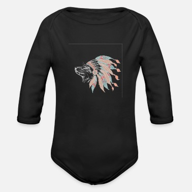 Plumage Fox Dog Indian Sketch Indians Native American - Organic Long Sleeve Baby Bodysuit