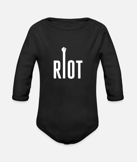 Rap Baby One Pieces - riot 01 - Organic Long-Sleeved Baby Bodysuit black