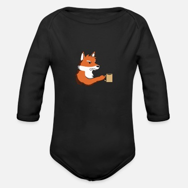 Grumpy In The Morning Fox grumpy morning gift idea coffee funny animal - Organic Long-Sleeved Baby Bodysuit
