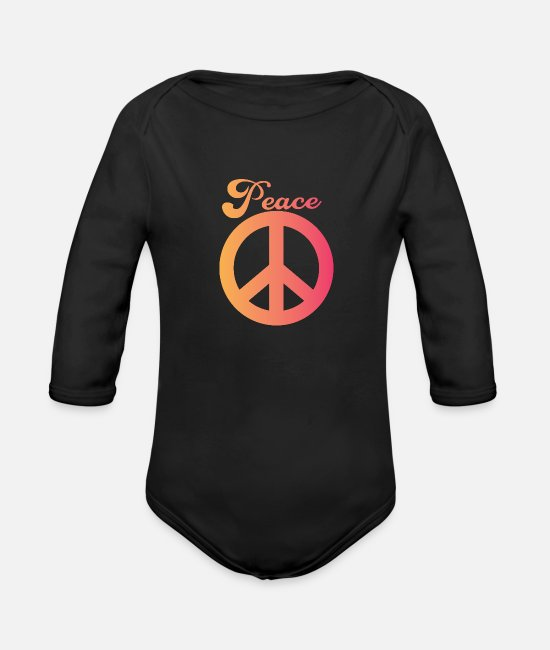 Heart Baby One Pieces - peace - Organic Long-Sleeved Baby Bodysuit black