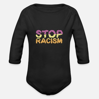 Against Against racism - Organic Long Sleeve Baby Bodysuit