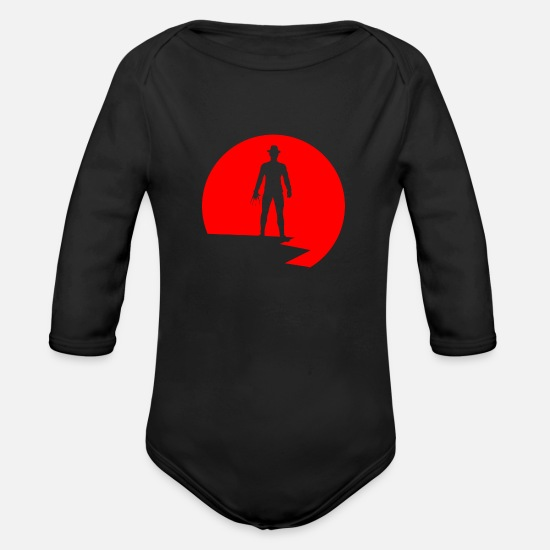 Brutal Baby Clothing - Traum Killer Psycho Killer Brutal Moeder Horror - Organic Long-Sleeved Baby Bodysuit black