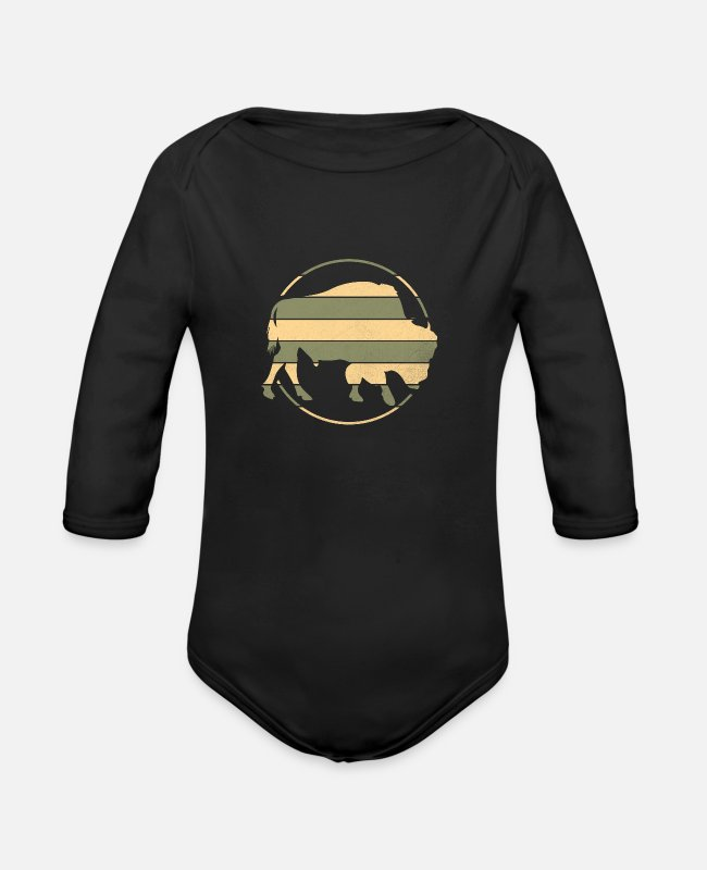Animal Baby One Pieces - Buffalo - Organic Long-Sleeved Baby Bodysuit black