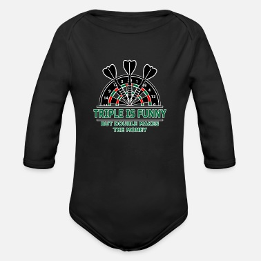 Triple is funny, doube makes money - Dart, Darts - Organic Long-Sleeved Baby Bodysuit