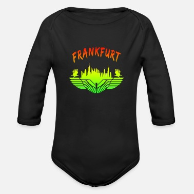 Sachsenhausen Frankfurt Skyline with Eagle in Colourful Motif - Organic Long-Sleeved Baby Bodysuit