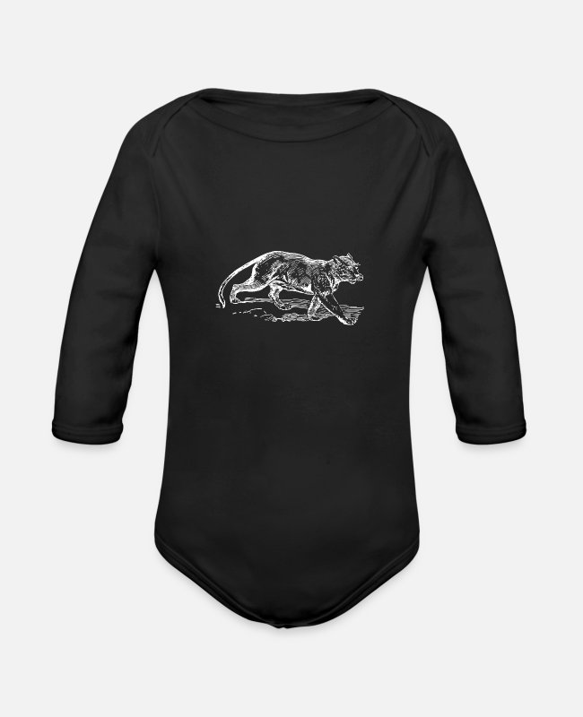 Wild Baby One Pieces - Jaguar white present idea - Organic Long-Sleeved Baby Bodysuit black